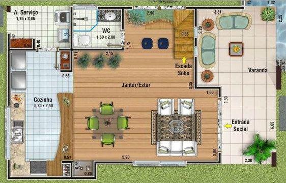 Plano de casa moderna de 2 pisos con medidas en metros ...