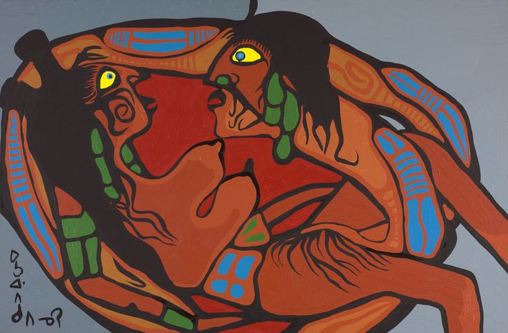 "Morrisseau's erotic works significantly reveal the artist's personal views on sexuality and they also celebrate un-sanitized versions of the profane, which play a strong role in Indigenous cultural stories. ""Artist in Union with Mother Earth,"" 1972, National Gallery of Canada. #ArtCanInstitute"