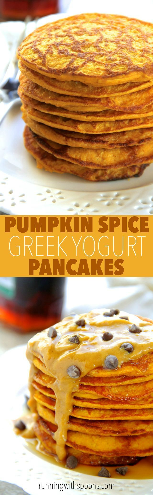 Pumpkin Spice Greek Yogurt Pancakes -- light, fluffy, and made in the blender, enjoy the ENTIRE recipe for under 300 calories with 20g of protein!    http://runningwithspoons.com #pumpkin #pancakes #breakfast