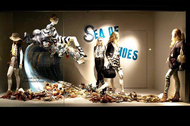Holt Renfrew Window Displays featuring Sea of Shoes  visual merchandising