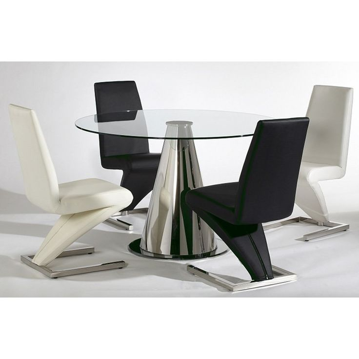 black, white and glass dining table set.