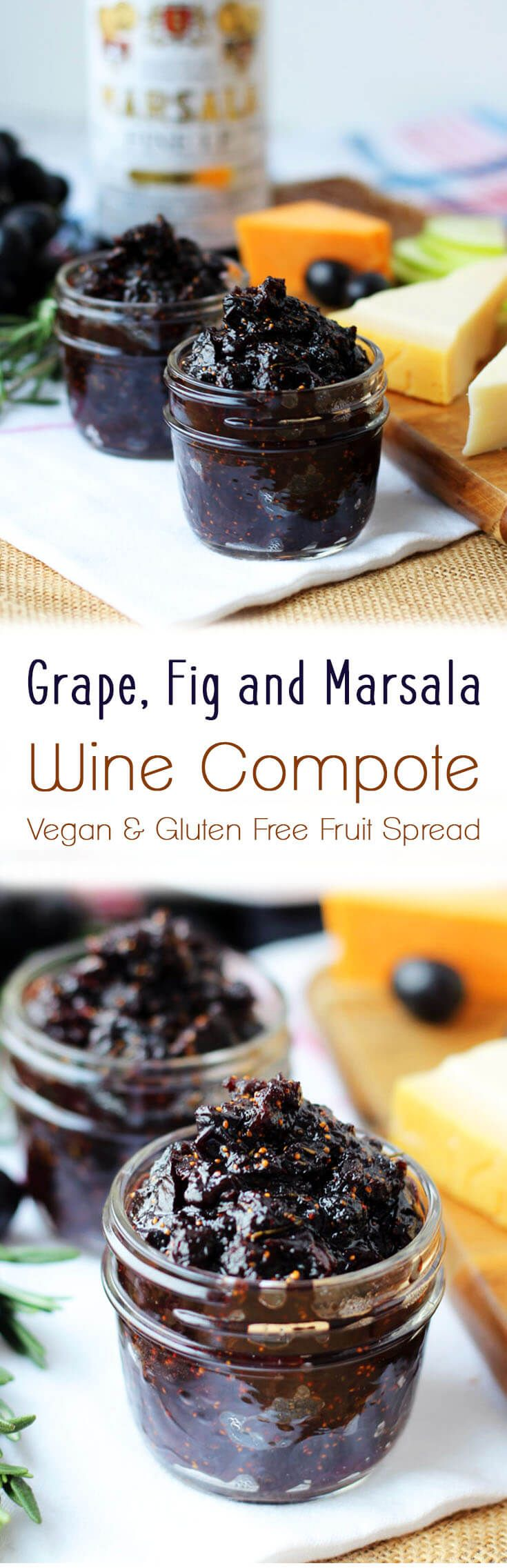 This grape, fig and marsala wine compote is a naturally vegan, gluten free fruit spread accompaniment with crackers or cheese. (best fruit recipes)