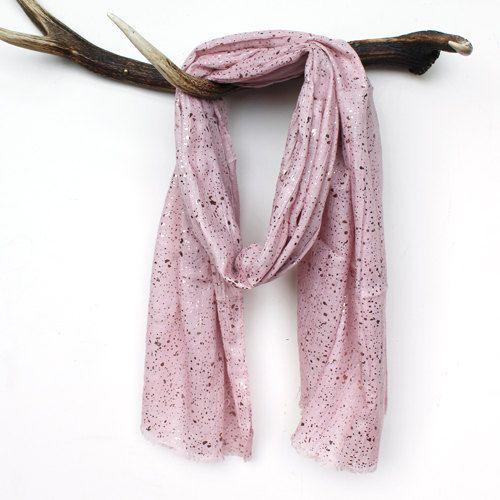 Blush Pink & Rose Gold Foil Speckled Scarf