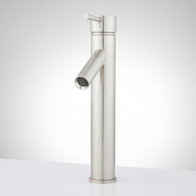 Brushed Nickel Front Single Hole Bathroom Faucet