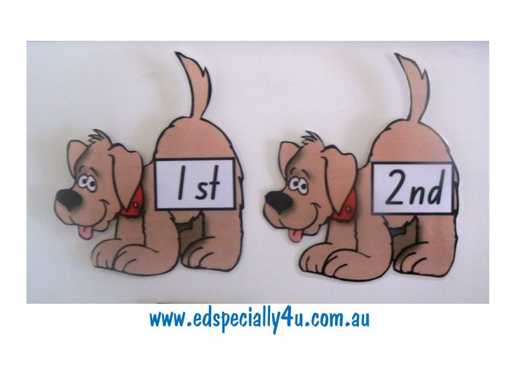 ED Ordinals.  Our cute and motivating ED dog is very motivating for learning ordinal numbers.  A great classroom resource for display and for hands-on learning. www.edspecially4u.com.au
