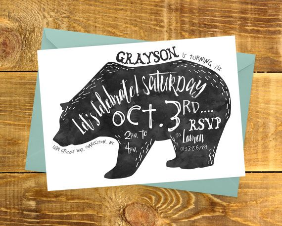 Bear Printable Birthday Invitation  Grizzly Bear by kandsdotco