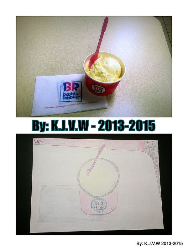 Real .v.s. Art  a drawing of an vanilla ice cream at Baskin-Robbins in (Saliña) Curacao   Ice Cream Picture : 2013  Drawing ''Vanilla Ice : 2014  Collage : 2015