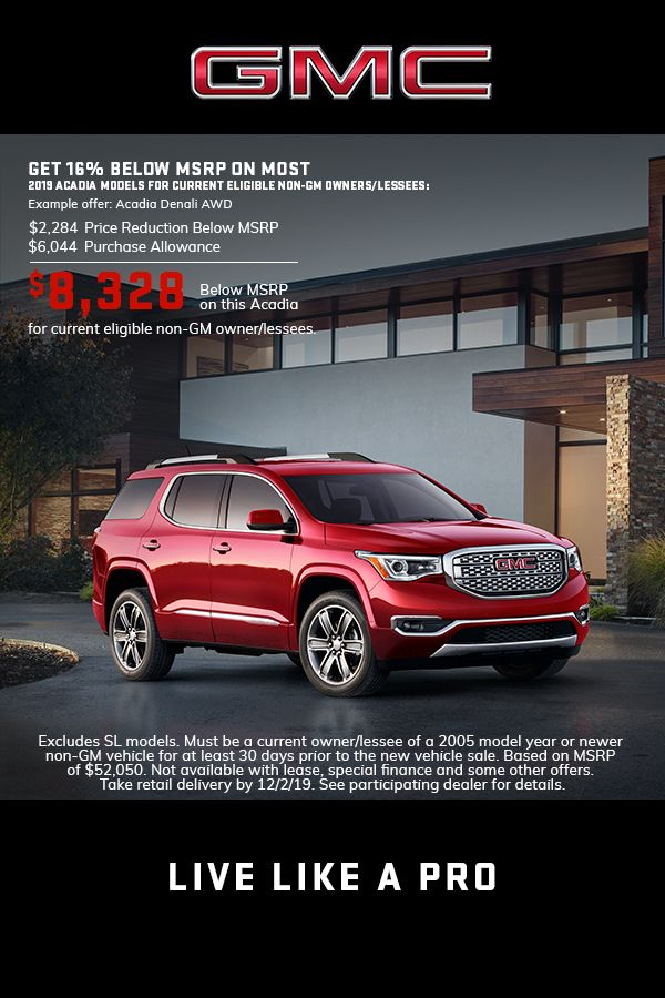Explore 2019 Gmc Acadia Offers Lease Deals Gmc Vehicles