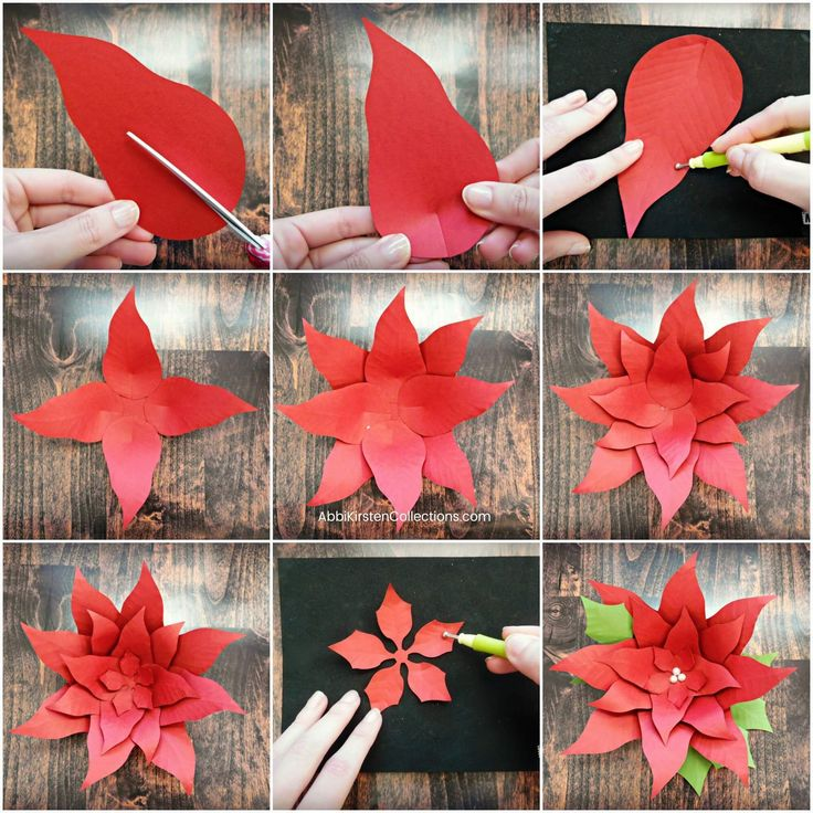 How to make paper poinsettias step by step in 2020 Paper
