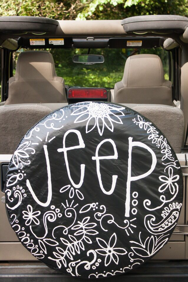 Custom made Jeep tire covers!   https://www.etsy.com/shop/emkatedesigns
