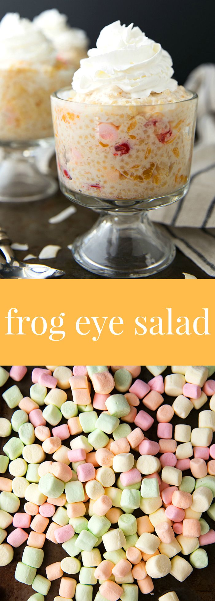 A delicious and classic Thanksgiving side-dishsalad -- frog eye salad with some healthier ingredient swaps!: