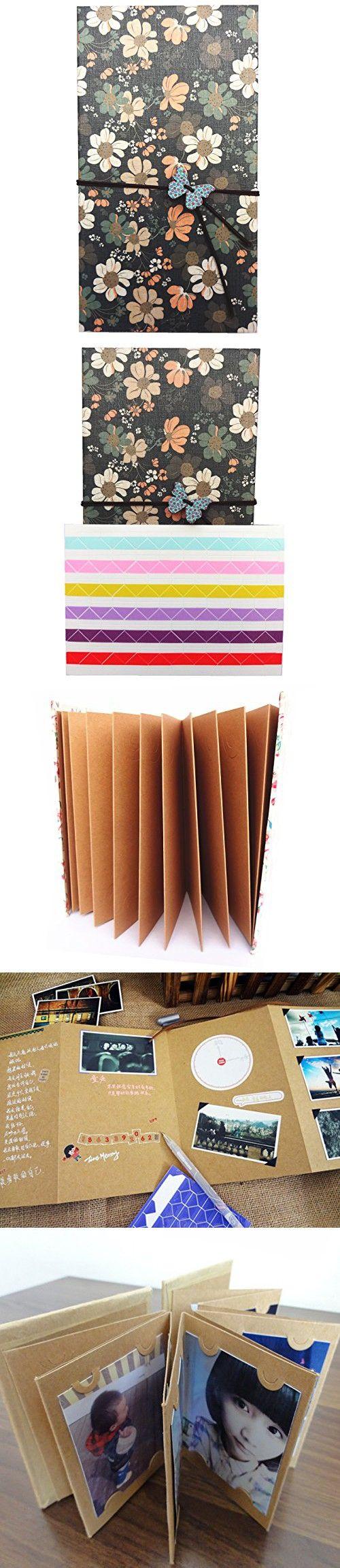 Duolaisu DIY Handmade Cloth Hardcover Kraft Paper Retro Accordion Style Photo Album 8.5x4.5Inch, Holds 4 x 6Inch Photos,One Self-adhesive Photo Corners