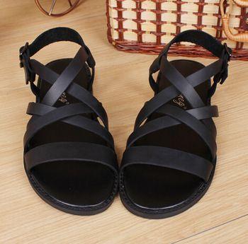 Nuovo 2015 sandali uomo pistoni originali sandali in pelle vacchetta sandali esterni casuali di cuoio degli uomini gladiatore sandali piatti per l'uomo