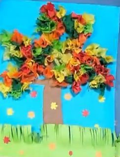 Fall Tree with Tissue Paper Children / Preschool Craft / Art Project - Great for Pre-K Complete Preschool Curriculum's Fall theme! Repinned by Pre-K Complete - follow us on our blog, FB, Twitter, & Google Plus!