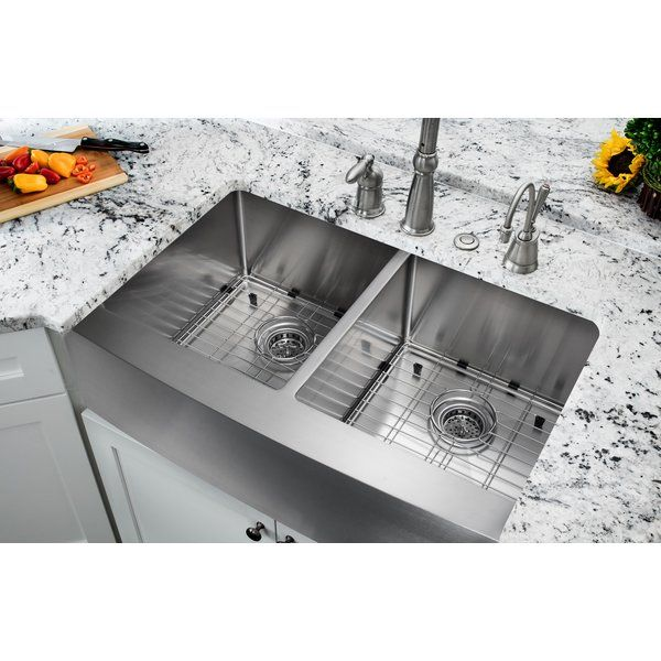 Undermount stainless steel sink combinations combine fashion with function to create a contemporary look for the kitchen. Handcrafted from premium 304 stainless steel for maximum durability, the extra-deep basins accommodate large dishes with ease. The clean lines and apron front design complement any decor, from traditional to transitional to modern. All kitchen sinks are equipped with top-level soundproofing, including thick rubber dampening pads. Each sink is additionally treated with…