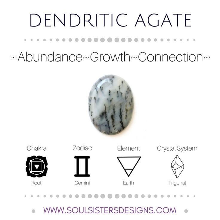 Metaphysical Healing Properties of Dendritic Agate, including associated Chakra, Zodiac and Element, along with Crystal System/Lattice to assist you in setting up a Crystal Grid. Go to https:/soulsistersdesigns.com to learn more!
