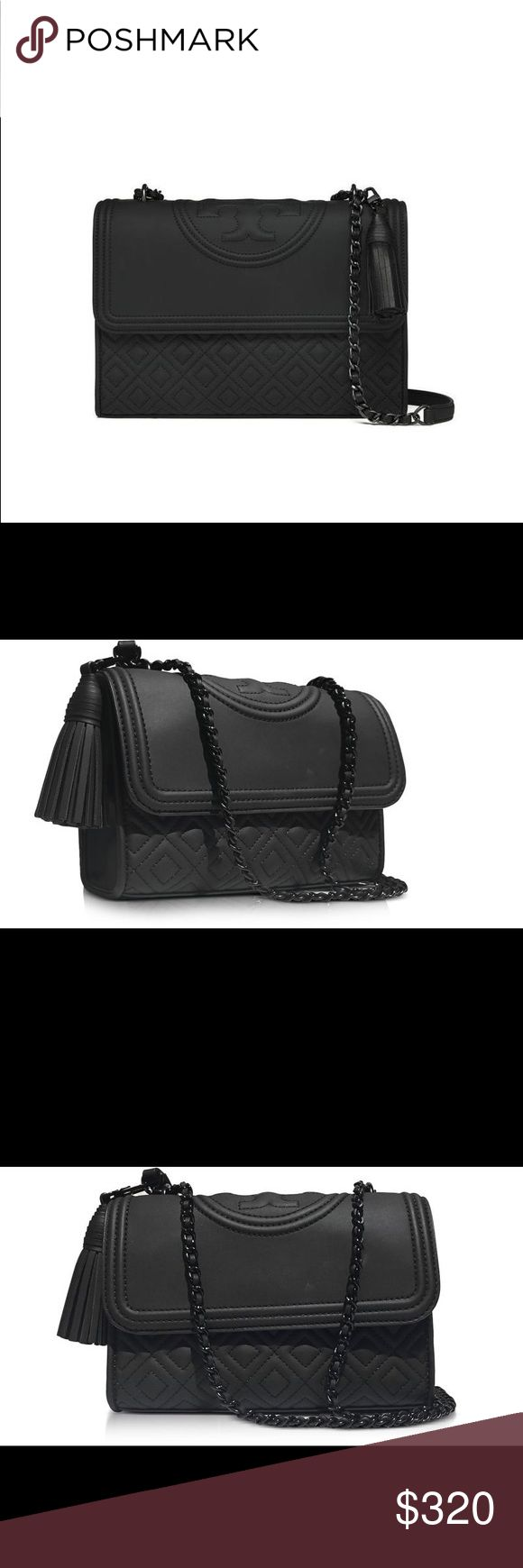 Tory Burch | Fleming Black Matte Convertible Bag Fleming Black Matte Small Convertible Shoulder Bag, has a sleek look and makes for the perfect addition to your sultry evening attire. Flap with magnetic snap button closure, adjustable chain strap, embossed logo detail on flap, removable tassel, detail and black hardware.  Elegant and detailed with branding on the flap with a diamond matelassé finish at the body. Carry it cross-body or over shoulder. - 2 inside pockets, 1 pocket with zipper…