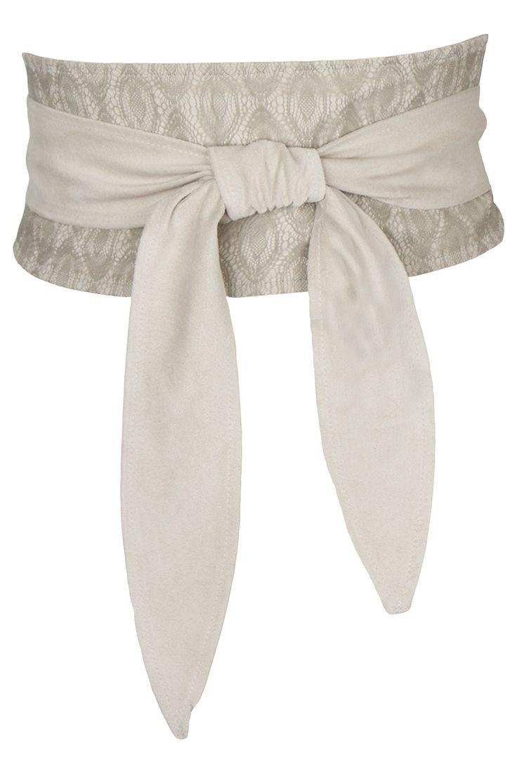 Ecru suede & lace obi www.marygrant.com