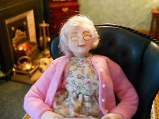 Hand Modelled 12th Scale Snoozing Granny Dolls House Doll OOAK by Susan Emsell