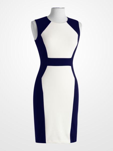 Calvin Klein Navy and White Colorblock Sheath Dress