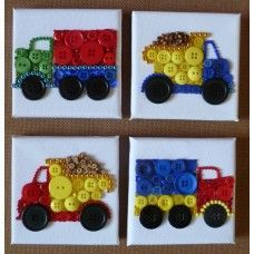 Button Art Lorries and Dumper trucks