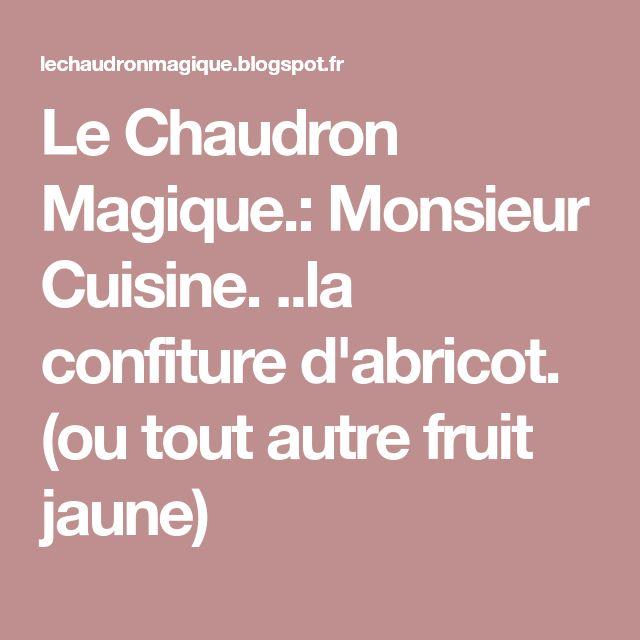 Le Chaudron Magique.: Monsieur Cuisine. ..la confiture d'abricot. (ou tout autre fruit jaune)