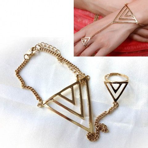 Bright Gold Triangular Chevron Style Hand Harness Bracelet. Awesome bright gold tone hand harness, with a triangular chevron style design to hand and adjustable ring, connected by gold-coloured chain.