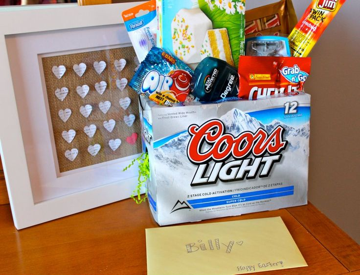 Easter basket for men!  Case is filled with easter grass; note that the beer is already chilling in the fridge.  Makes me laugh and yet a somewhat practical idea! :) itd make him smile. Just with root beer since my husband doesn't drink