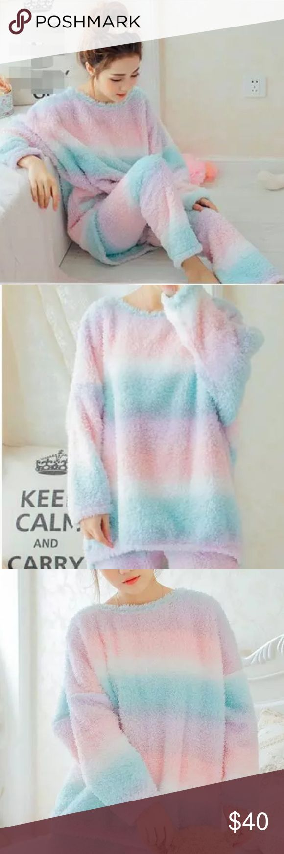 Kawaii Pastel Rainbow Plush Winter Sleep Pajama Brand new Kawaii Pastel cotton candy rainbow plushie pajama sleepwear set. Extra warm, soft to touch, and perfect for the winter. Size small or medium. Two piece set. Elastic waist. This set looks even better in person. Intimates & Sleepwear Pajamas