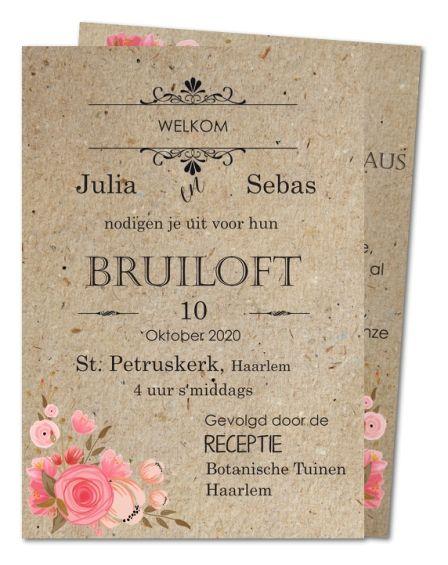 Trouwkaart Vintage rozenknoppen (PRV-237)