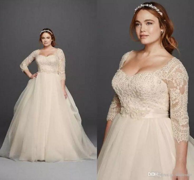 Oleg Cassini Light Champagne Lace Plus Size Wedding Dresses Scoop Neck 3/4 Long Sleeves Covered Buttons 2016 Princess Garden Bridal Gowns Second Marriage Wedding Dresses Short Bridal Dresses From Whiteone, $143.37| Dhgate.Com