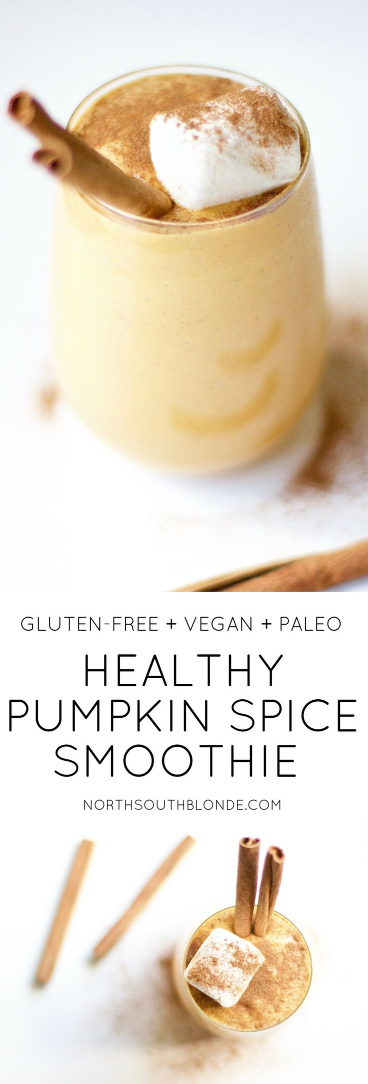 This healthy pumpkin spice smoothie can be enjoyed any time of day to give you that cozy fall feeling, without the guilt. Pumpkin spice and everything nice! Weight Loss | Low Calorie | Low Fat | Low Carb | Nutritious | Fibre | Gluten-Free | Vegan | Paleo