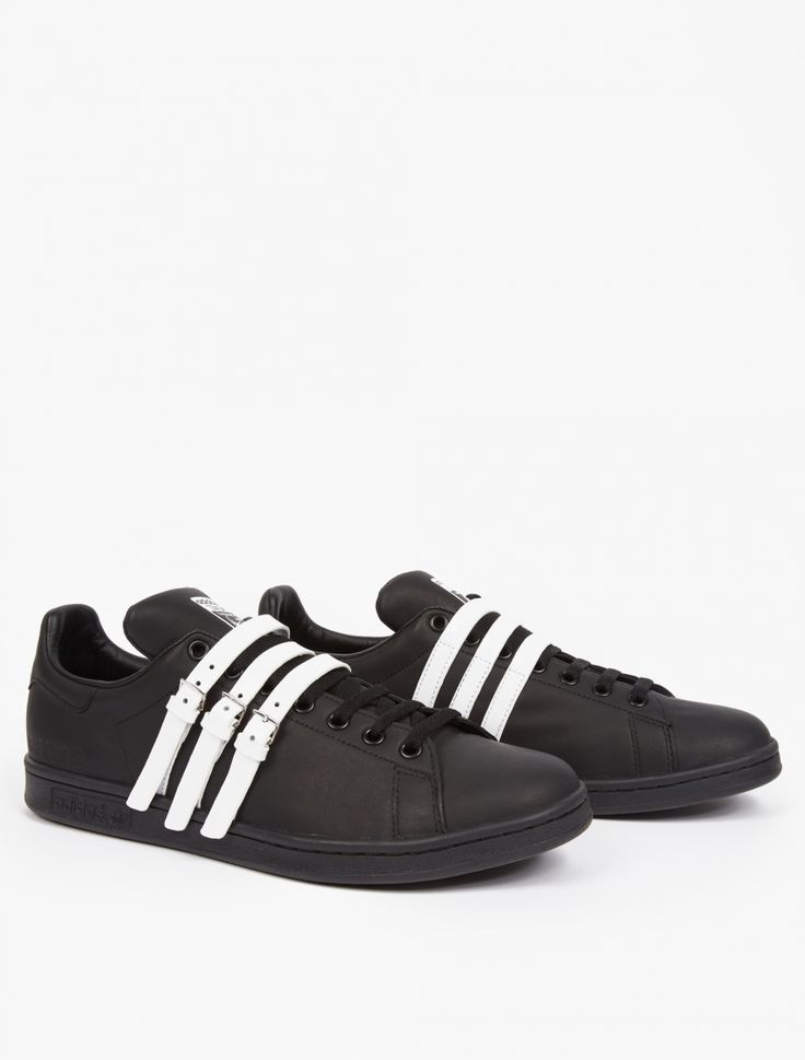 Adidas By Raf Simons Black Stan Smith Sneakers.