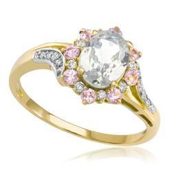 Anel com Morganita Oval, Safiras Rosas e Diamantes em Ouro Amarelo