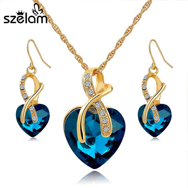 Women Crystal Heart Necklace Earrings Jewellery //Price: $9.72 & FREE Shipping Coupon Code #INSTA10