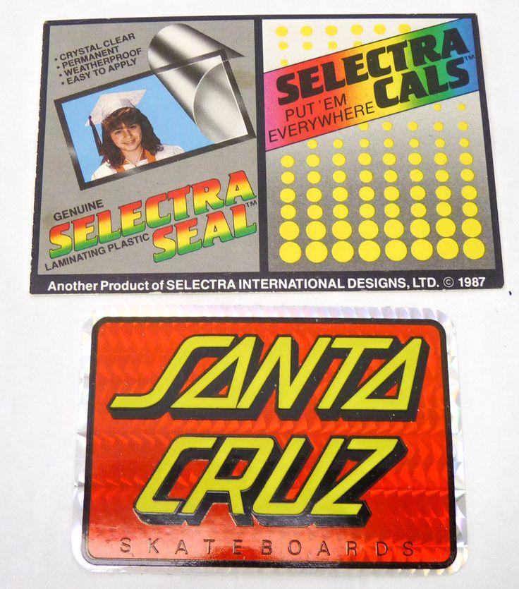Vintage 1987 Santa Cruz Skateboards Sticker Hologram Vending Promo Selectra Cals #SantaCruz