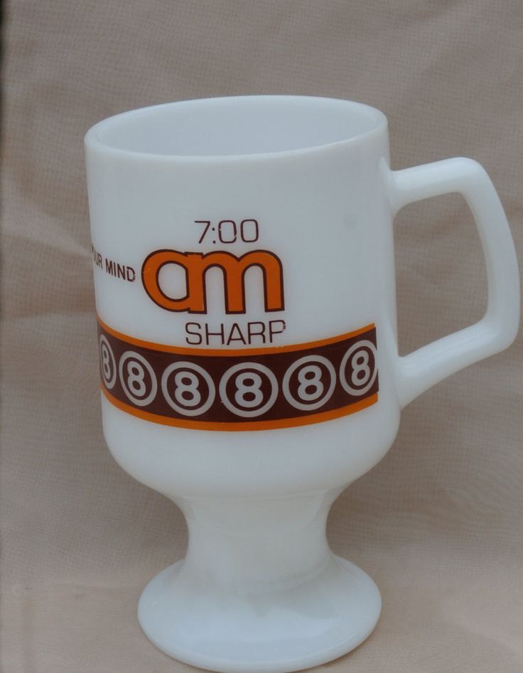 Super 8 Motel Mug, 7:00 am Sharp Wake Up Your Mind, Footed Milk Glass Coffee Cup