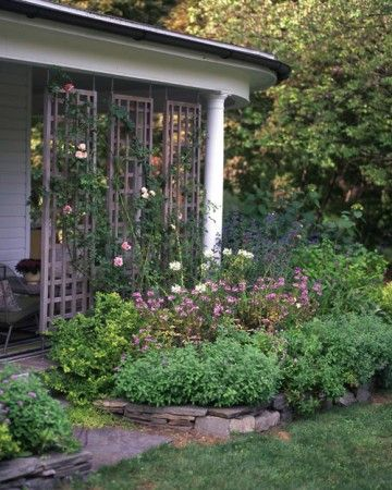 Flower Show - A fragrant, disease-resistant 'New Dawn' rose climbs the latticework that screens the east-facing porch ell. Tony Bielaczyc took advantage of this bright exposure to stock the border with sun-loving flowers.