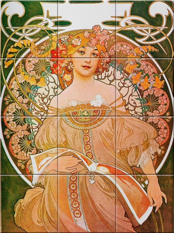 Decorative Tile Ceramic mural Vintage Art Nouveau Illustration Alphonse mucha #1