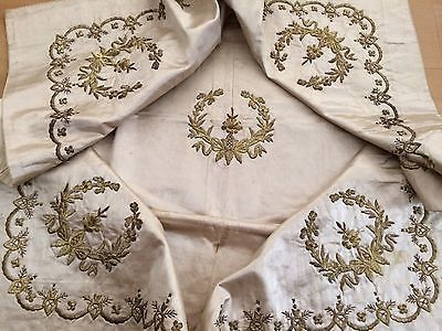 Antique Ottoman Turkish Gold Metallic Hand Embroidery On Silk Bohca N7
