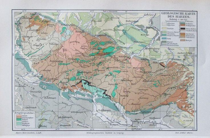 1895 GEOLOGISCHE KARTE DES HARZES Historische Landkarte Deutschland Harz Litho