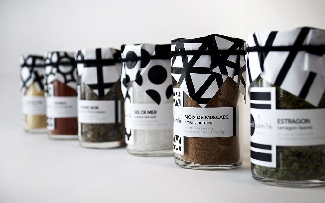 Petit Comité by Tutdesign. We're loving the clean graphics and customised jam jar paper covers.