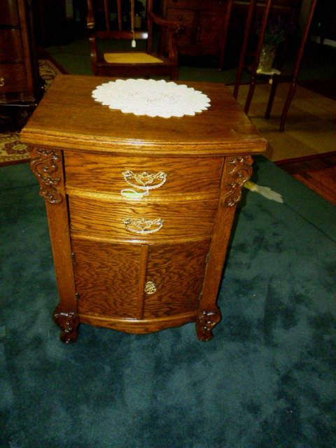 Antique Oak night stand end table 1900's refinished cast brass hardware  ornate carvings by SkipsAntiqueOak on Etsy | antique oak furniture in 2018  ... - Antique Oak Night Stand End Table 1900's Refinished Cast Brass