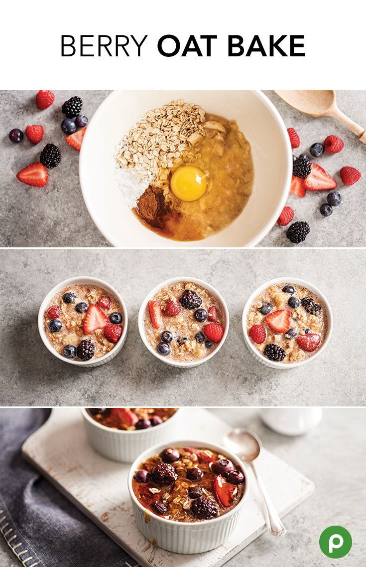 Trying to stay warm inside when it's cool outside? Give our Berry Oat Bake a try. It's a perfectly portioned breakfast, snack, or dessert made with delicious ingredients like bananas, eggs, milk, oats, maple syrup, and fresh berries. Get the recipe from Publix Aprons.