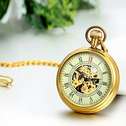 Regalo de Papá Día del Padre Jewelrywe Retro Sencillo Reloj de Bolsillo Mecánico Dorado, Hunter Relojes de Bolsillo Vintage Esqueleto Hueco, Relojes de Hombre Caballero