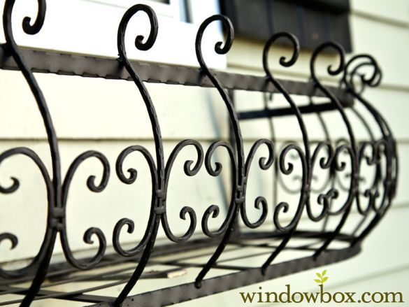 "Quality Wrought Iron Construction Get the look of antique iron window boxes with our Parisian Window Box Planters. They're fabricated using tried-and-true welding practices and are all hand made in North America. Each flower box planter cage is also protected with a black powder coat finish, so it's resistant to rust and weather damage. Planter cages are available in standard sizes ranging from 24"" to 72"", and can be requested in smaller or larger sizes, depending on..."
