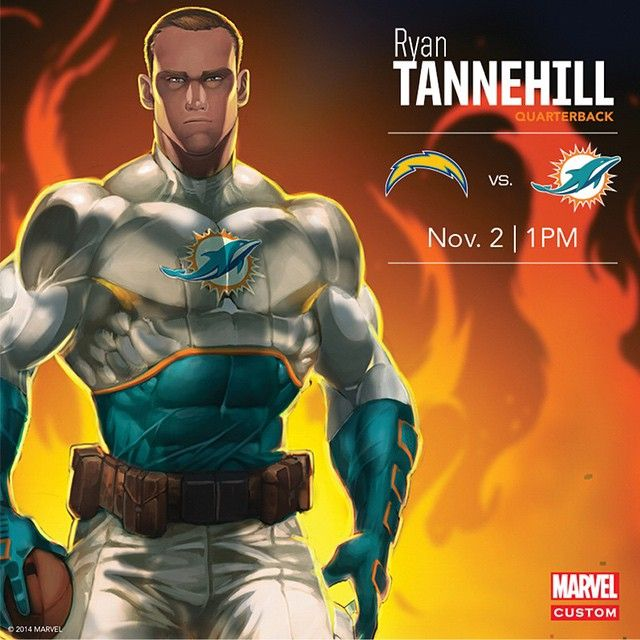 Ryan Tannehill Miami Dolphins Marvel Comics Captain America