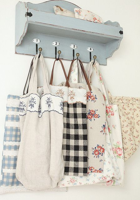 Coat Rack and adorable linen totes