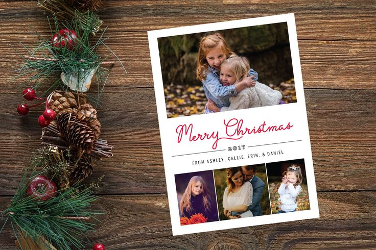 4 Photo Christmas Card, Family Collage Holiday Card, Family Christmas Card, Printable Card, Custom Photo Card, Merry Christmas Card 5x7 by yellowbellyproject on Etsy