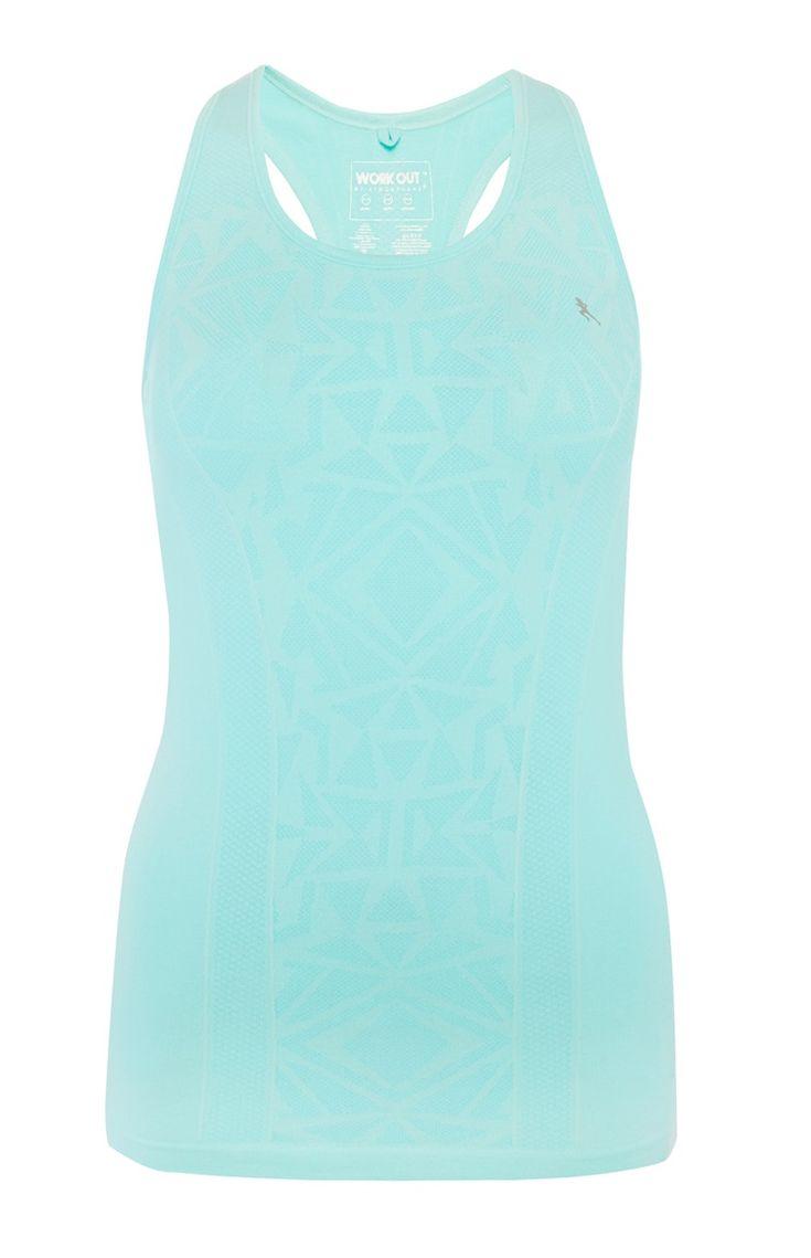 Primark - Blauwgroen workout-hemdje met jacquard-print
